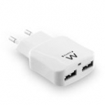 USB Charger 2 Port 2.4a Smart Ic White